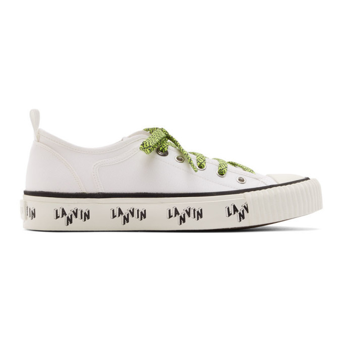 Photo: Lanvin White Canvas Logo Sneakers