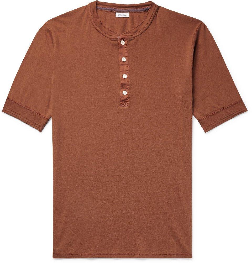 Schiesser - Karl Heinz Slim-Fit Cotton-Jersey Henley T-Shirt - Men - Orange