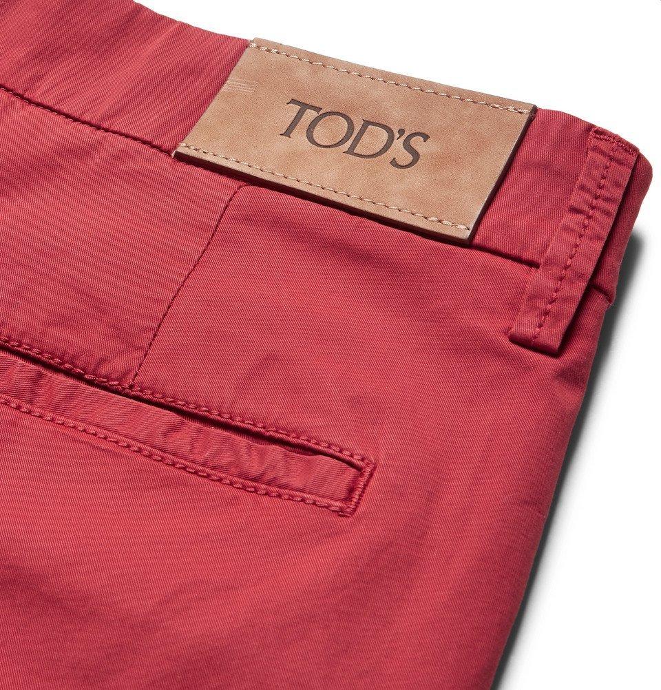 Tod's - Pleated Stretch-Cotton Twill Shorts - Men - Brick