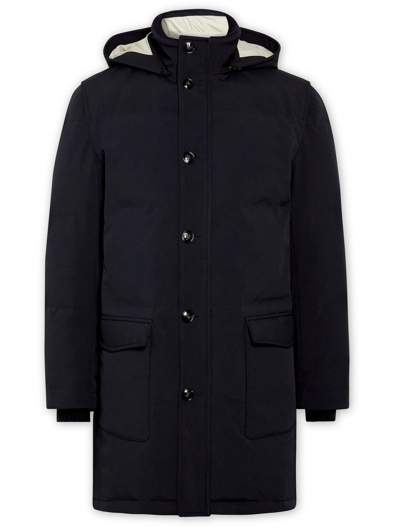 Photo: Kiton - Quilted Shell Hooded Down Parka - Blue