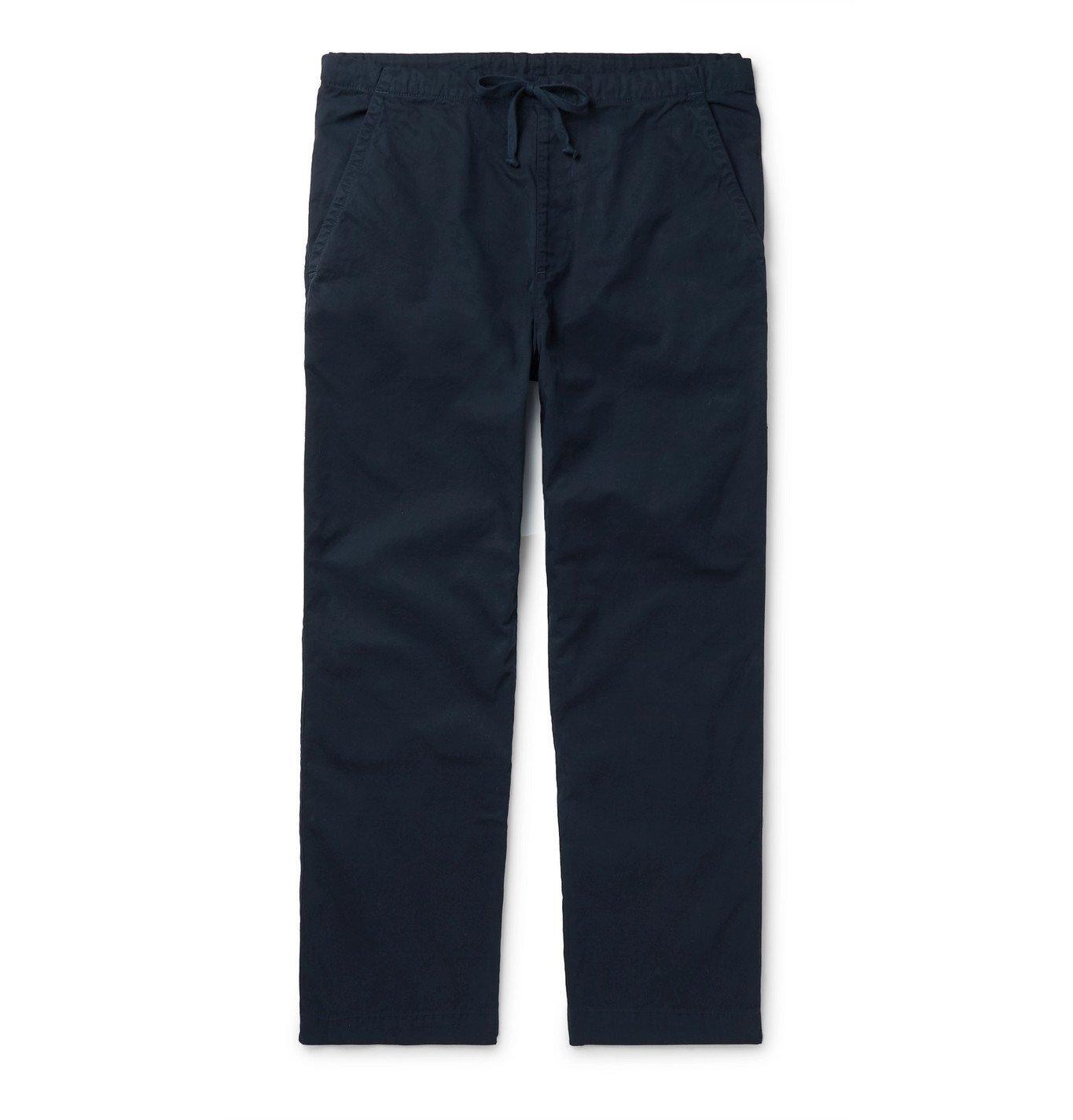 Photo: Save Khaki United - Navy Easy Cotton-Twill Drawstring Chinos - Blue