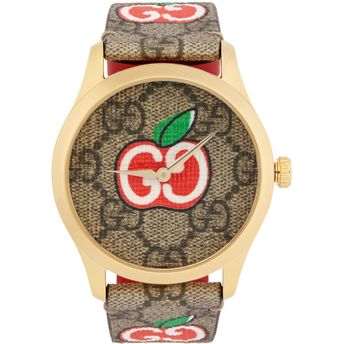 Photo: Gucci Gold and Brown Valentines Day G-Timeless Watch
