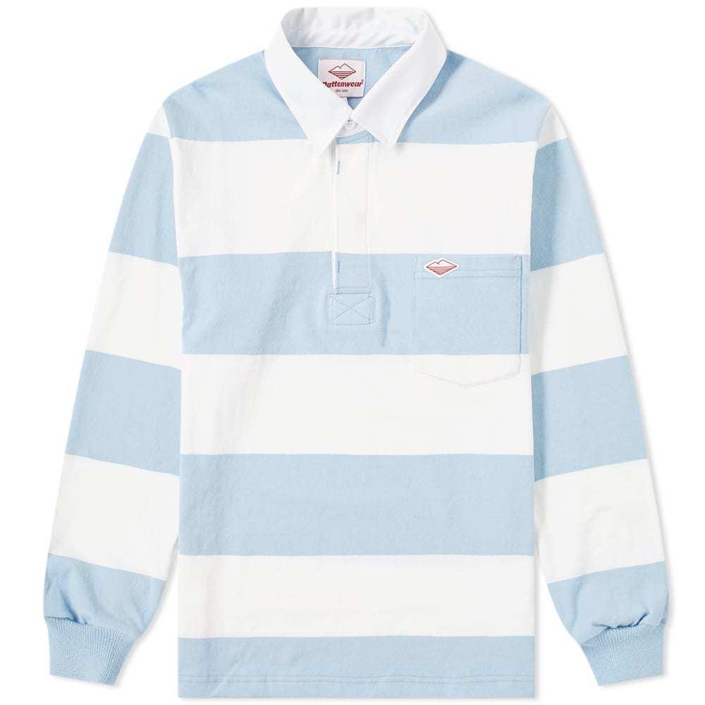 Photo: Battenwear Pocket Rugby Shirt White & Light Blue