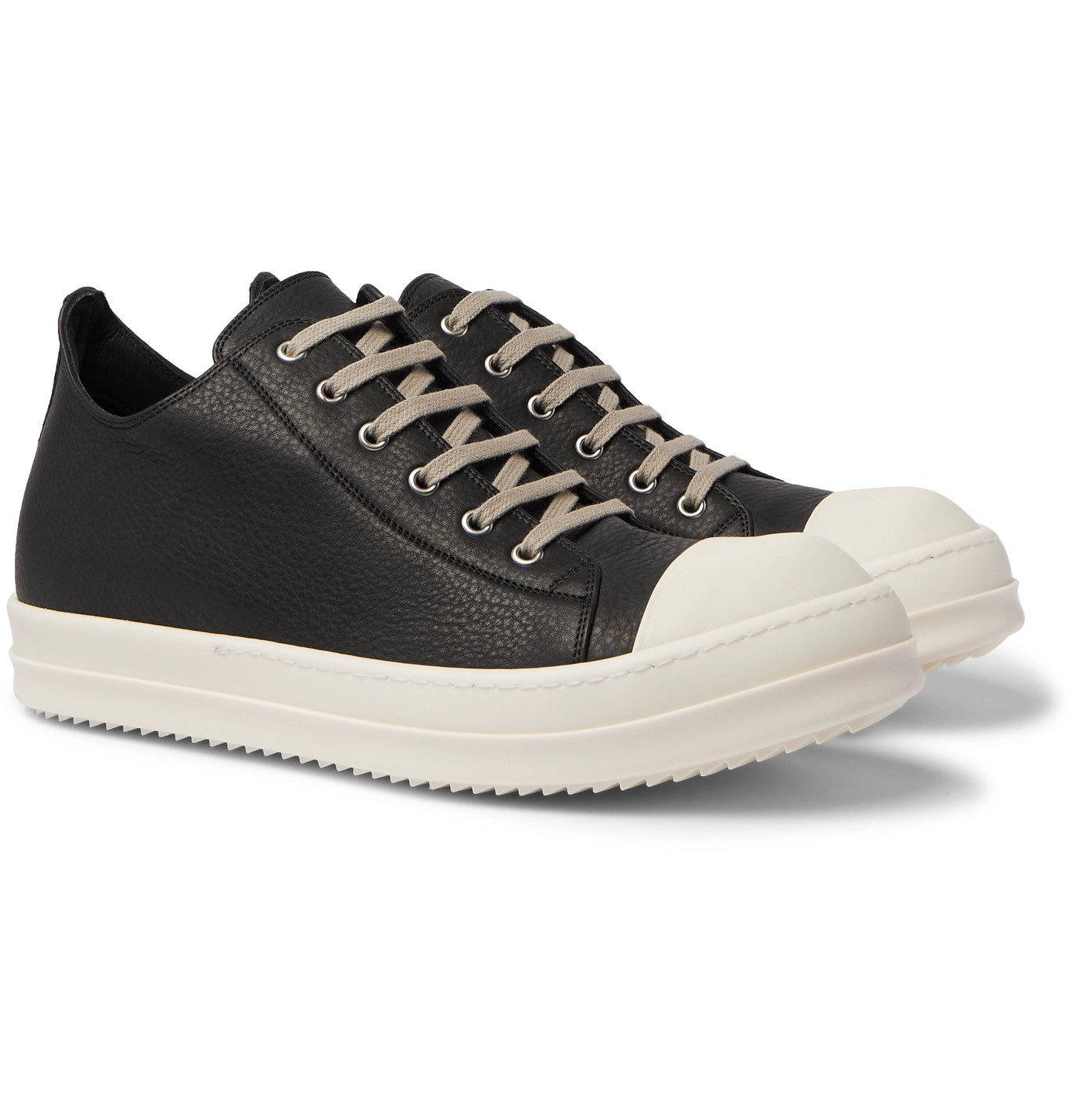 Photo: RICK OWENS - Low Leather sneakers - Black