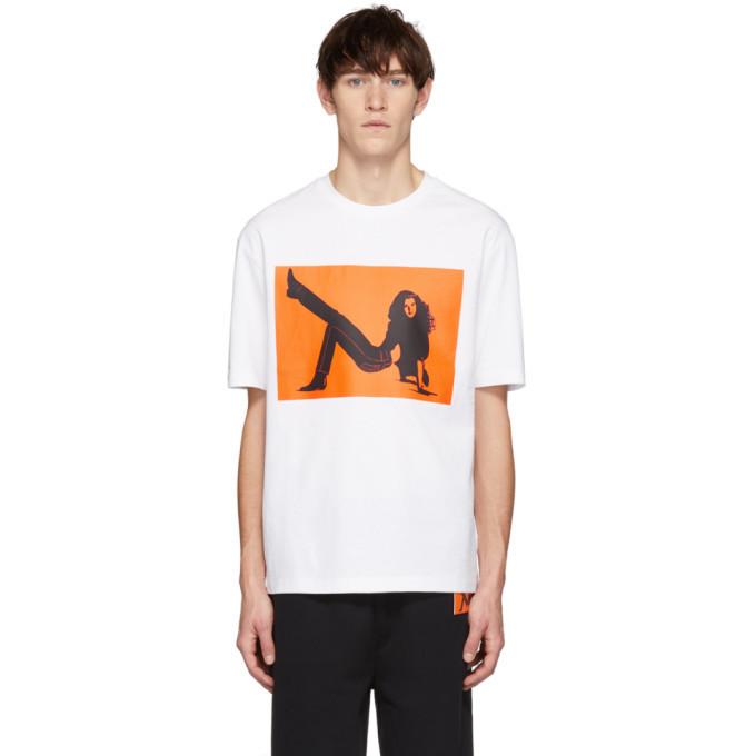 Photo: Calvin Klein Jeans Est. 1978 White and Orange Icon Printed T-Shirt