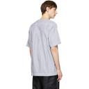Sacai Blue and White Pinstripe Half-Sleeve T-Shirt