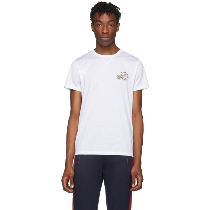 Photo: Moncler White Logo Patches T-Shirt