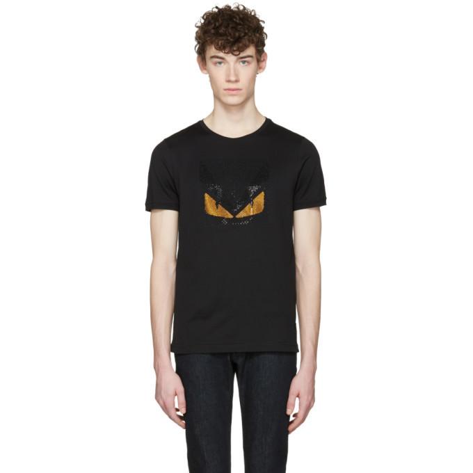 Photo: Fendi Black Crystal Bag Bug T-Shirt