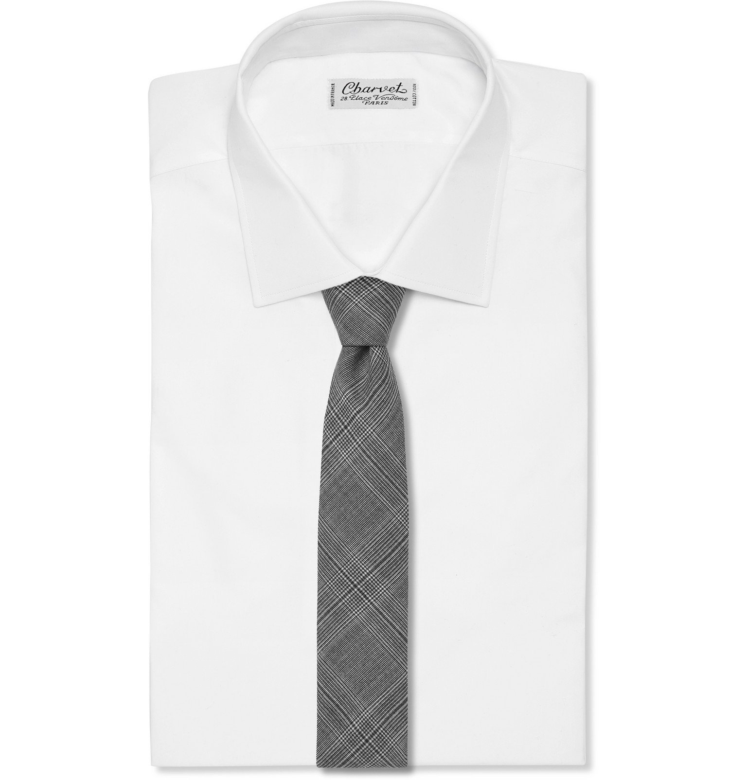 Officine Generale - 7.5cm Prince of Wales Checked Wool Tie - Gray