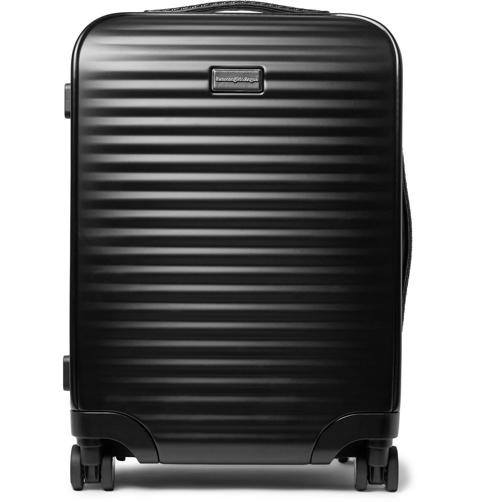 Photo: Ermenegildo Zegna - Leather-Trimmed Polycarbonate Carry-On Suitcase - Black