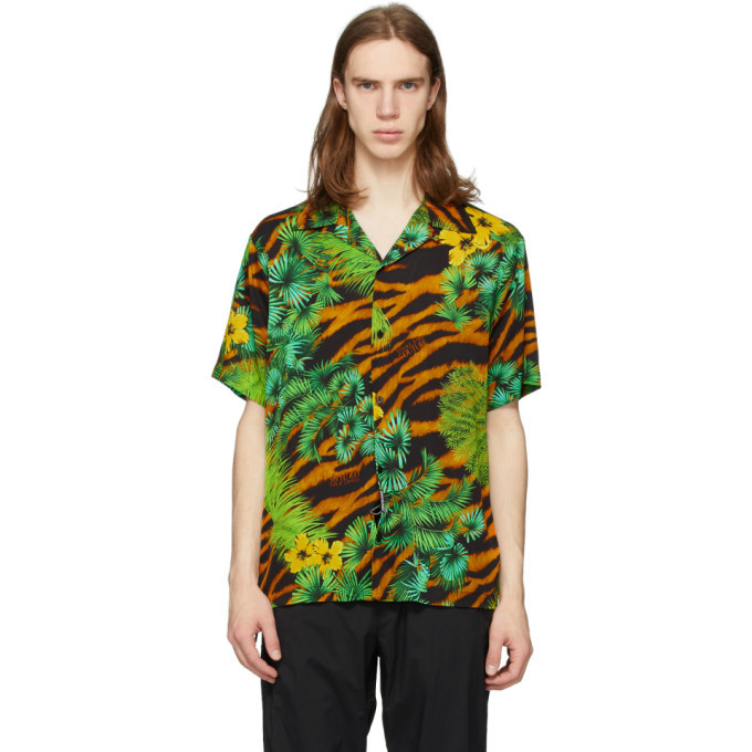 Photo: Versace Jeans Couture Multicolor Tiger and Palm Short Sleeve Shirt