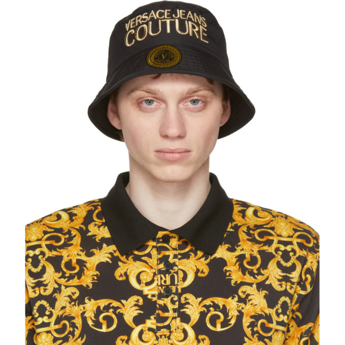 Photo: Versace Jeans Couture Black and Gold Logo Bucket Hat