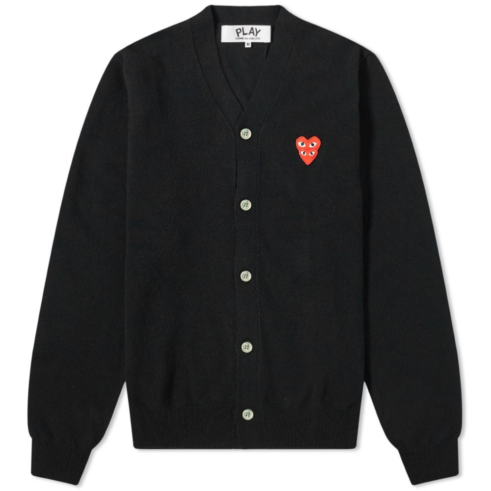 Photo: Comme des Garcons Play Overlapping Heart V-Neck Cardigan