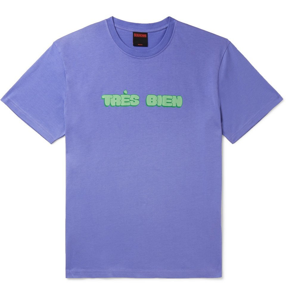 Photo: Très Bien - Souvenir Logo-Print Cotton-Jersey T-Shirt - Purple