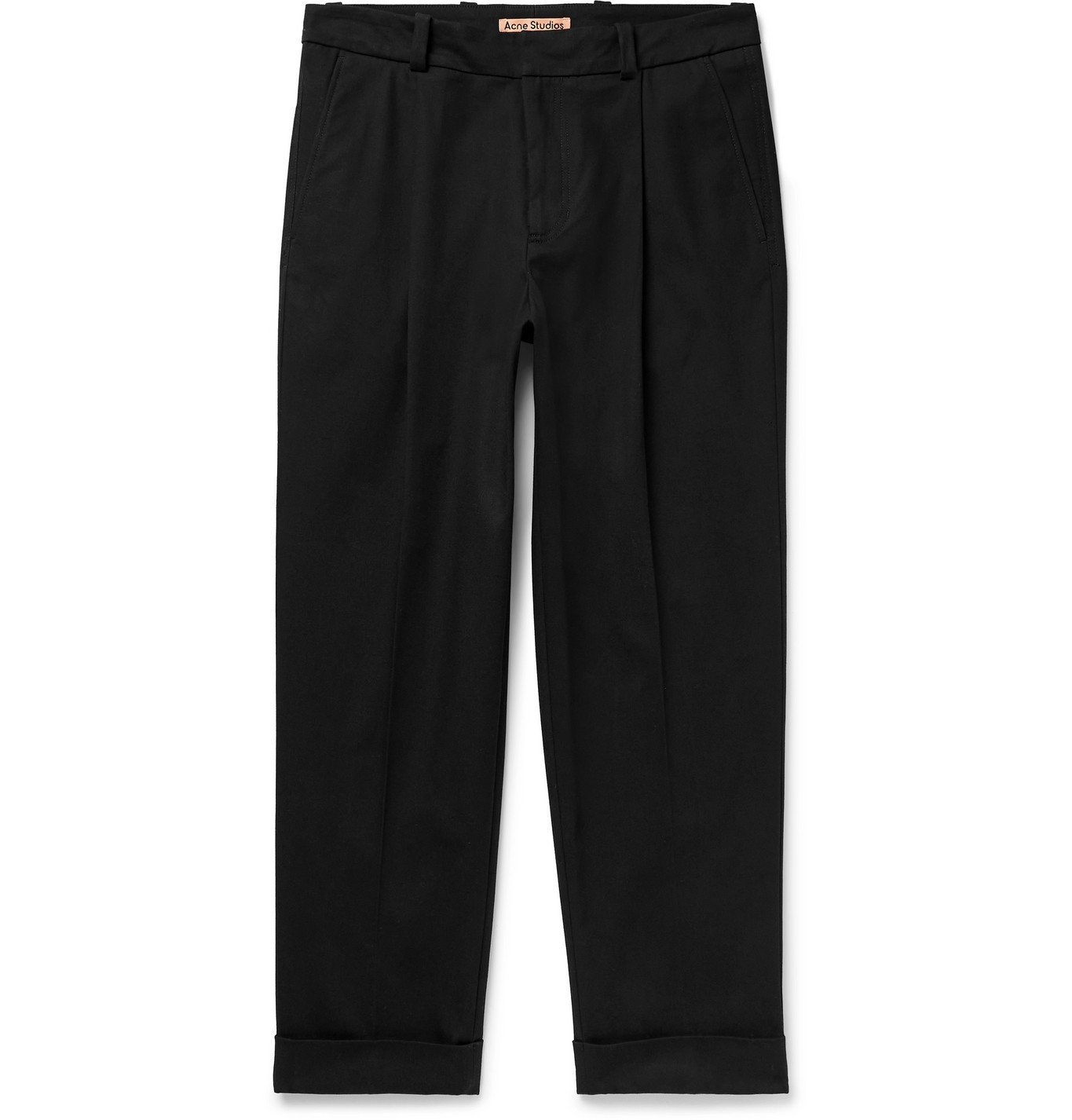 Photo: ACNE STUDIOS - Pierre Tapered Cropped Pleated Cotton-Blend Trousers - Black