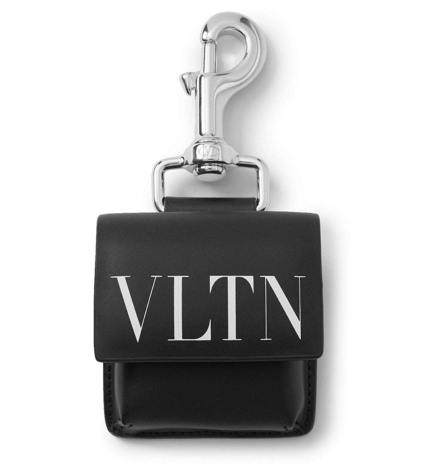 Photo: Valentino - Valentino Garavani Logo-Print Leather Earbuds Case - Black
