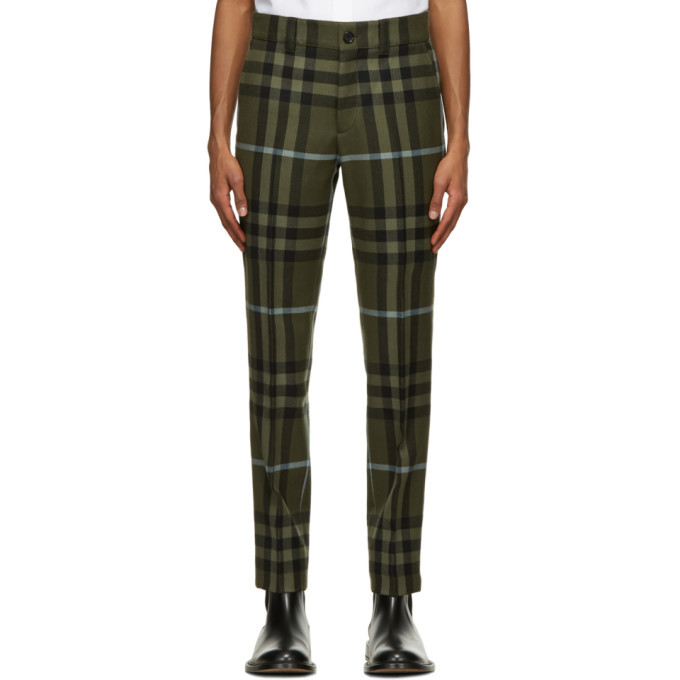Photo: Burberry Green Wool Technical Check Trousers