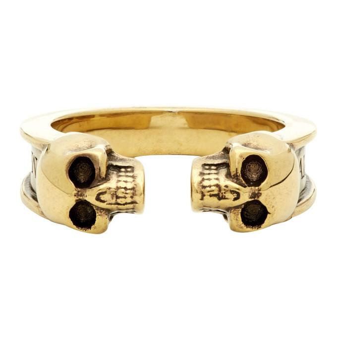Photo: Alexander McQueen Gold Twin Skull Ring