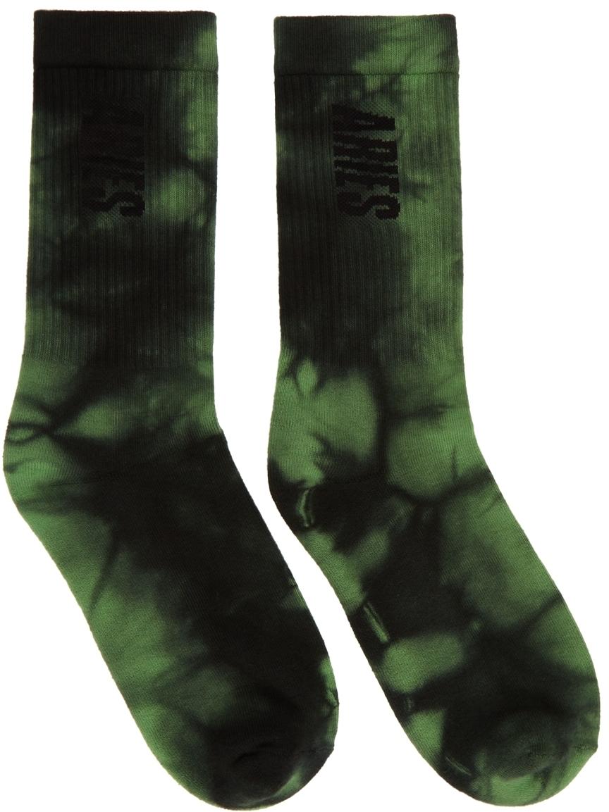 Photo: Aries Green & Black Tie-Dye Logo Socks