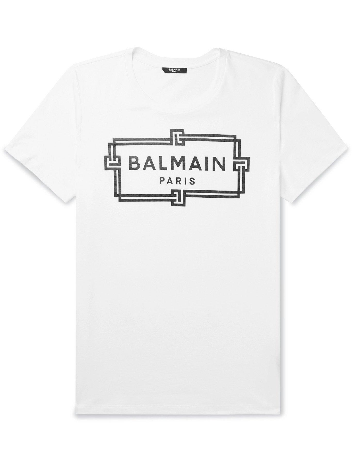 Photo: BALMAIN - Slim-Fit Logo-Print Cotton-Jersey T-Shirt - White - XS