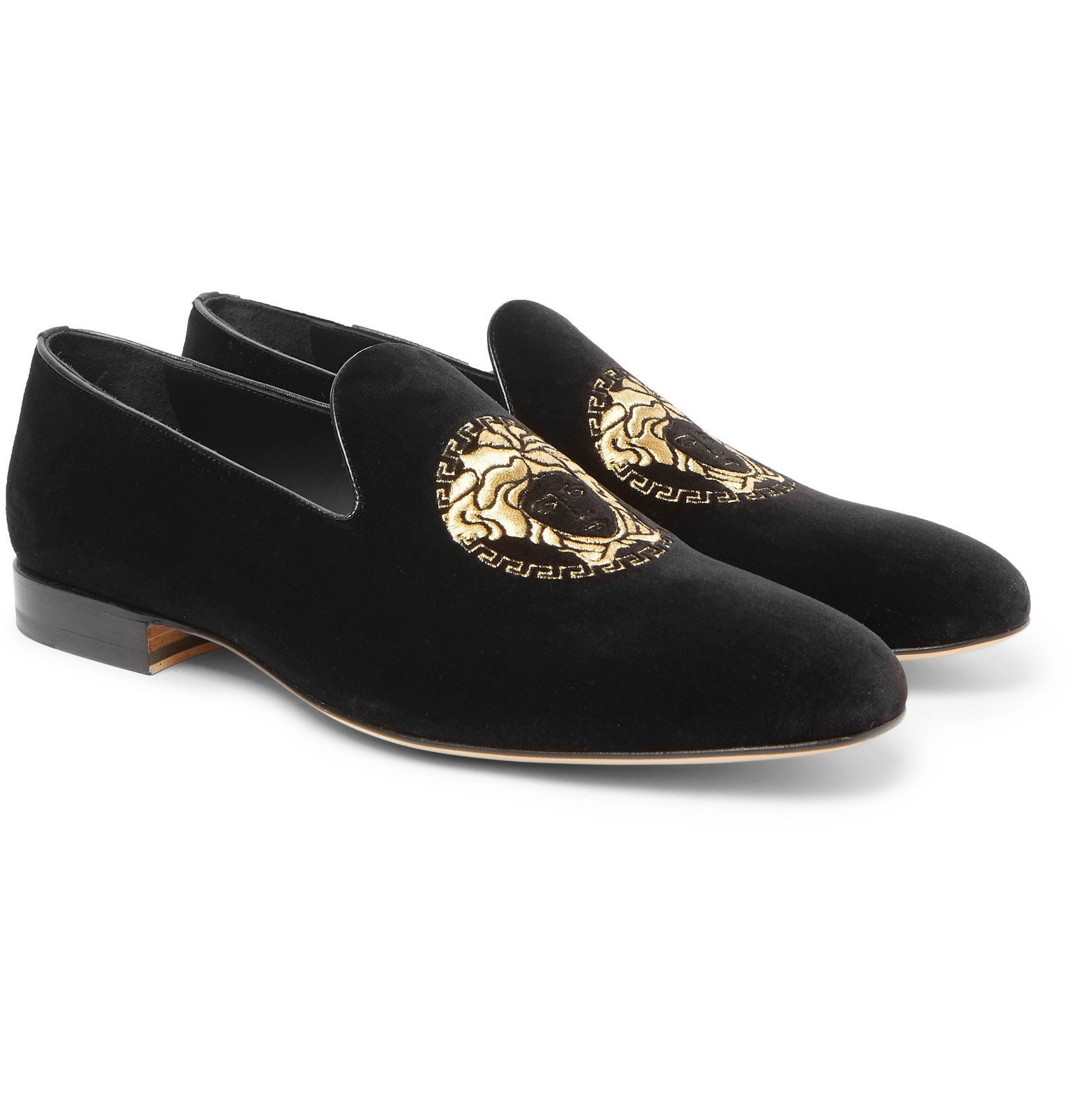 Photo: Versace - Logo-Embroidered Velvet Loafers - Black