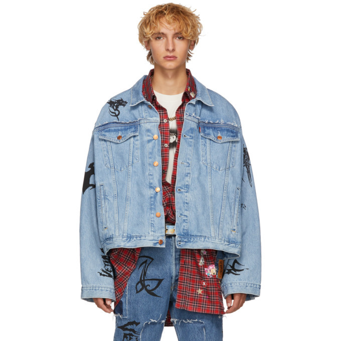 Photo: Vetements Blue Levis Edition Denim Oversized Tribal Jacket