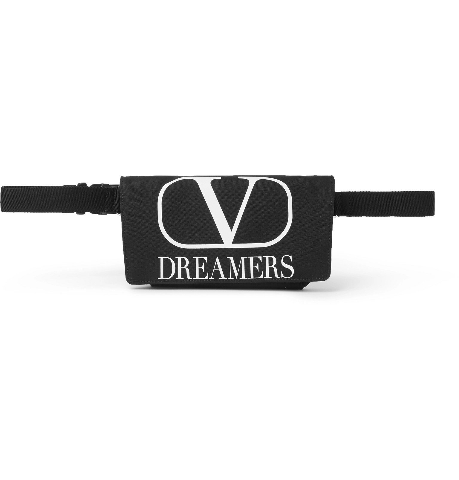 Photo: Valentino - Logo-Print Canvas Belt Bag - Black