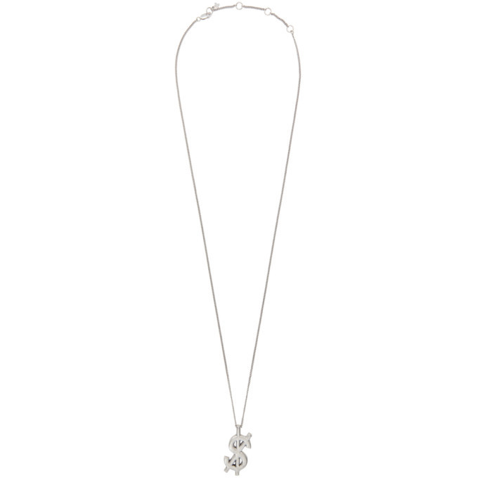 Ksubi Silver Dripps Cross Dollar Necklace