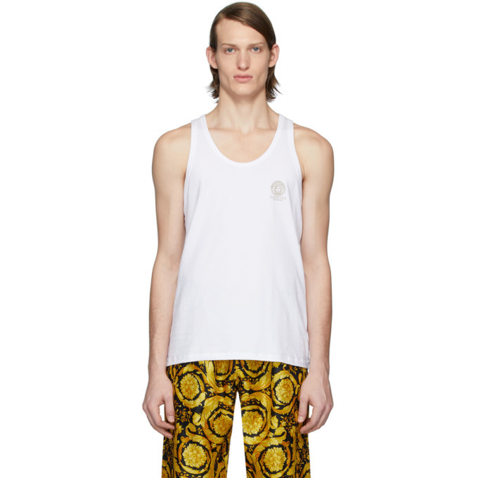 Photo: Versace Underwear White Logo Tank Top