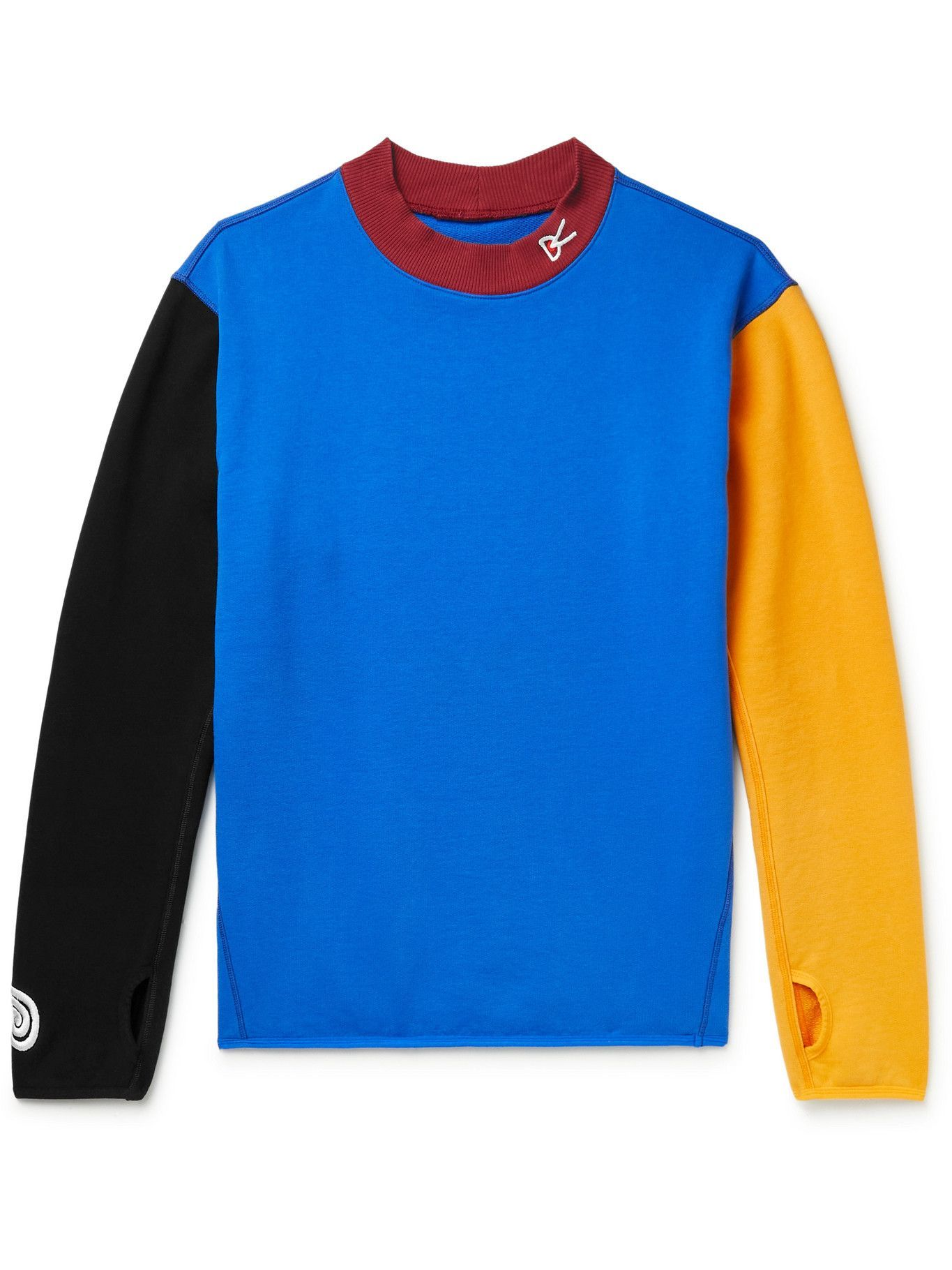 Photo: DISTRICT VISION - MR PORTER Health In Mind Hiei Colour-Block Cotton-Jersey Sweatshirt - Blue
