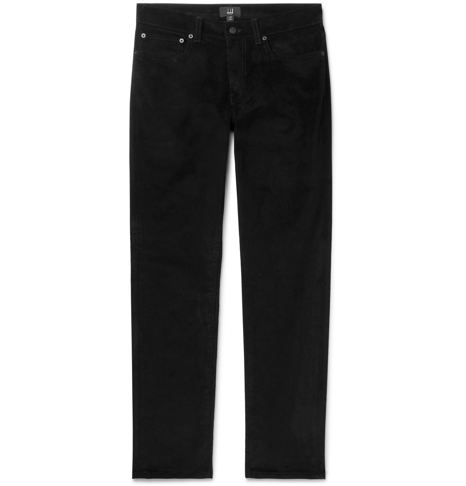 Dunhill - Black Slim-Fit Stretch-Cotton Corduroy Trousers - Black