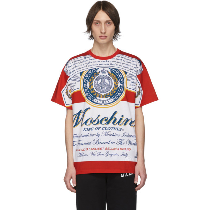 Photo: Moschino Red Budweiser Edition Logo T-Shirt
