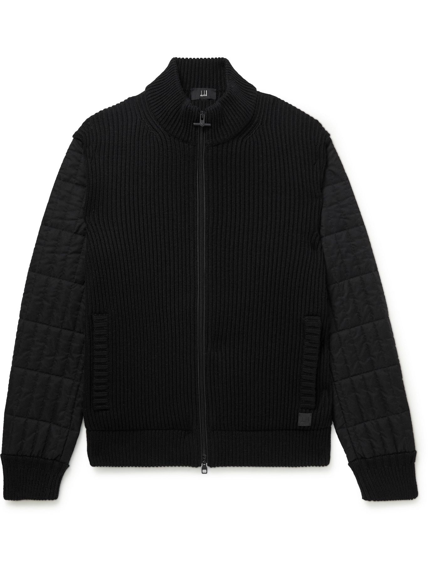 Photo: DUNHILL - Ribbed Wool and Quilted Shell Jacket - Black