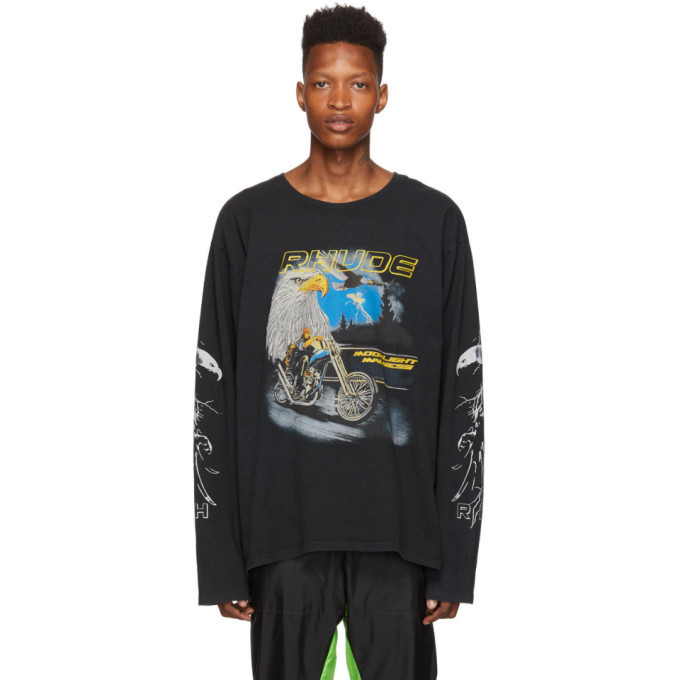 Photo: Rhude Black Eagle Moto Long Sleeve T-Shirt