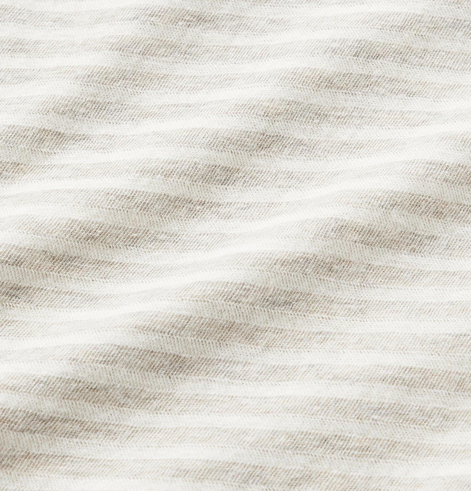 Officine Generale - Striped Cotton-Jersey T-Shirt - Gray