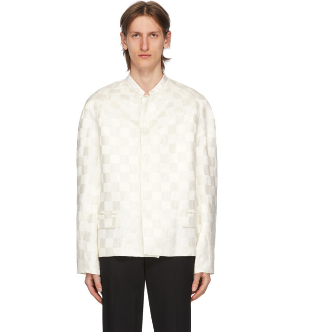 Photo: Haider Ackermann White Linen and Silk Checkered Jacket