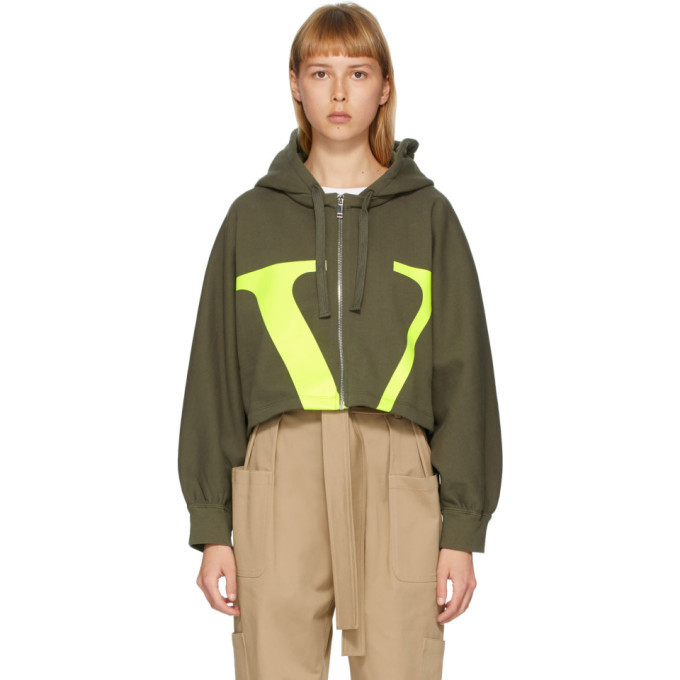 Photo: Valentino Green VLogo Cropped Hoodie