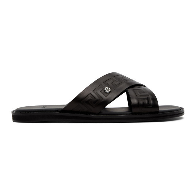 Photo: Versace Black Leather Medusa Sandals