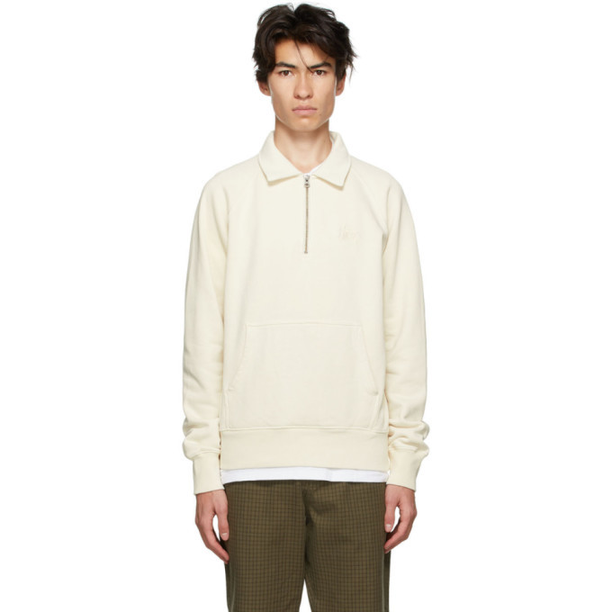 Photo: Stussy Beige Fleece Polo Zip Sweatshirt