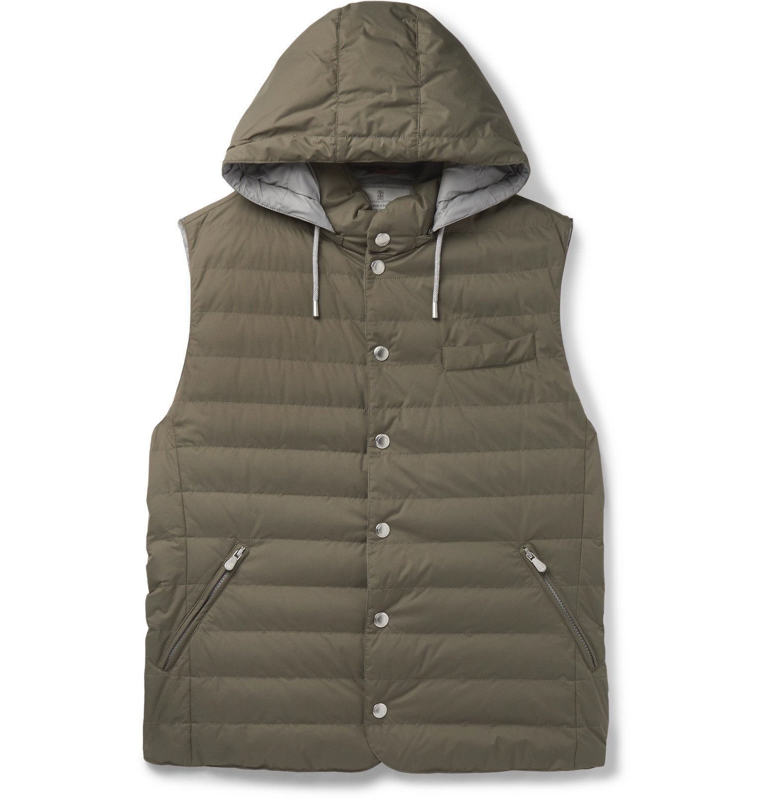 Photo: Brunello Cucinelli - Quilted Nylon Hooded Down Gilet - Green