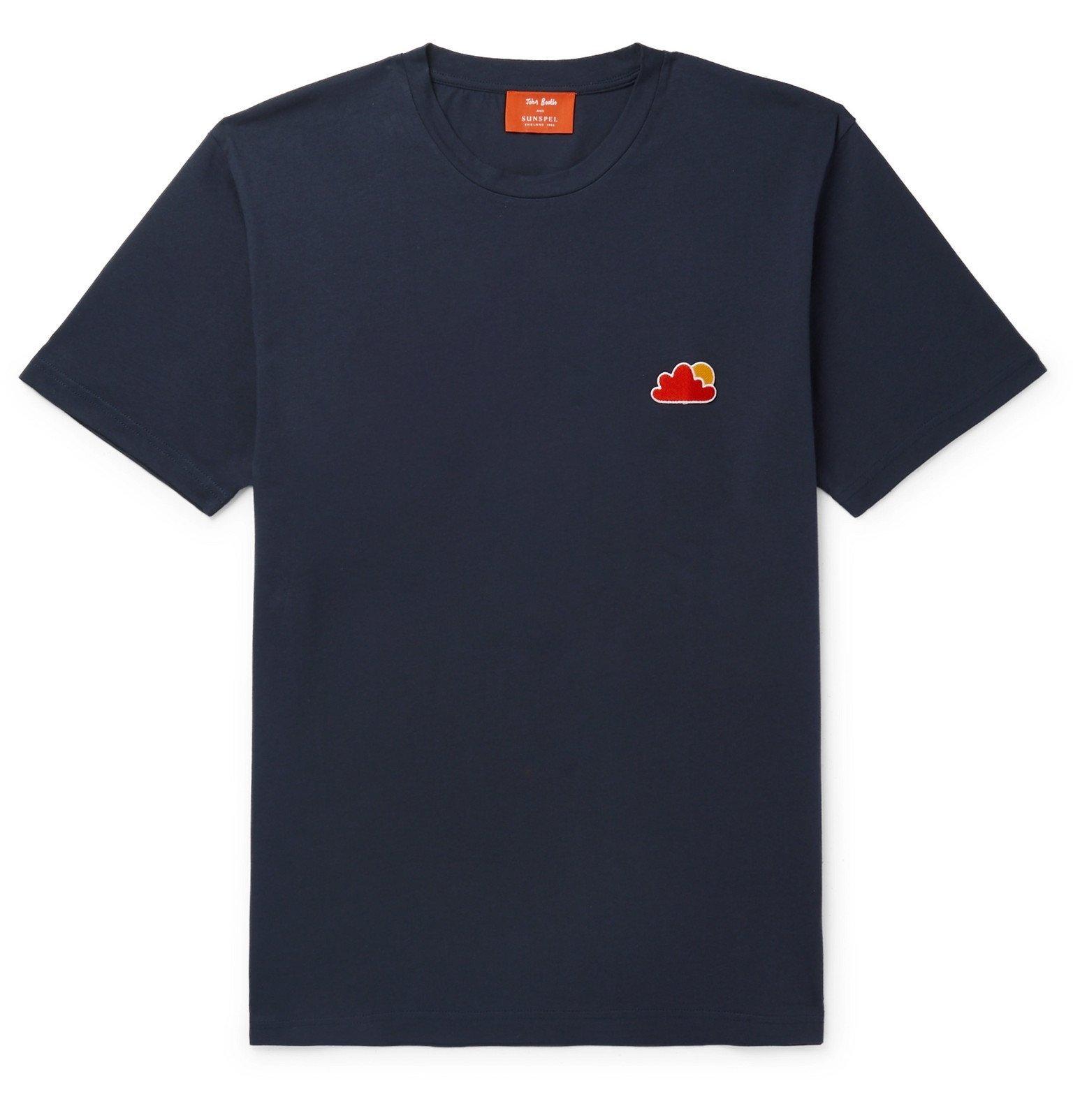 Photo: Sunspel - John Booth Appliquéd Cotton-Jersey T-Shirt - Blue