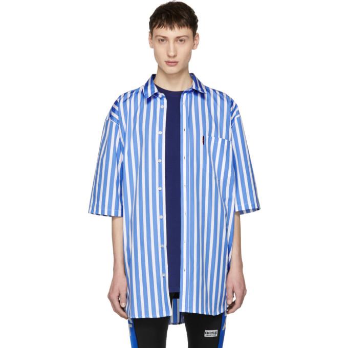 Martine Rose Blue and White Short Sleeve Striped Oversized Shirt