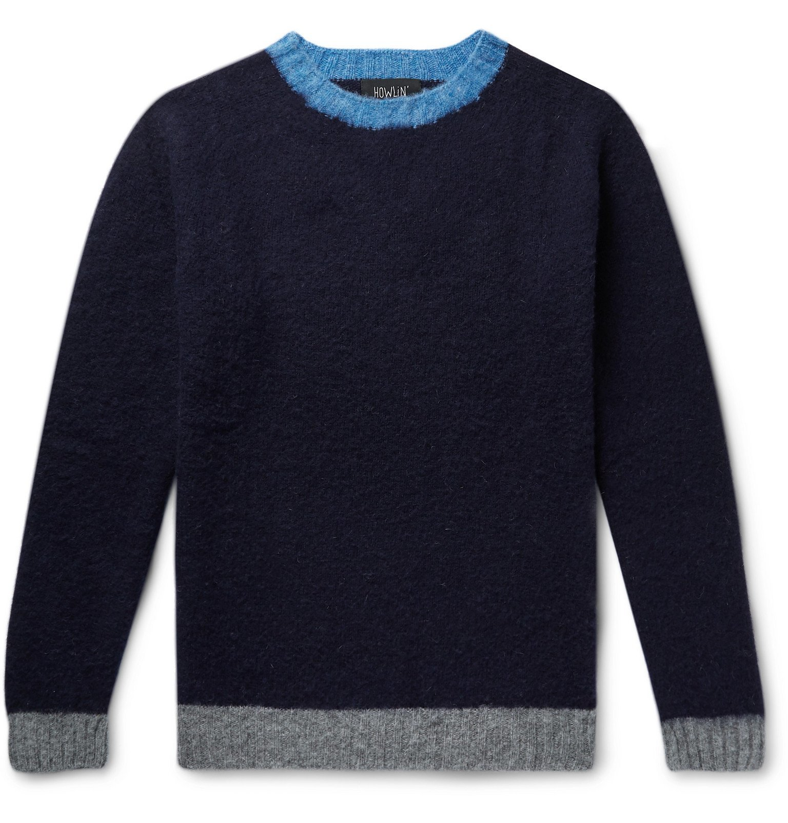 Photo: Howlin' - Slim-Fit Contrast-Tipped Wool Sweater - Blue