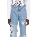 Raf Simons Blue Destroyed Relaxed-Fit Jeans
