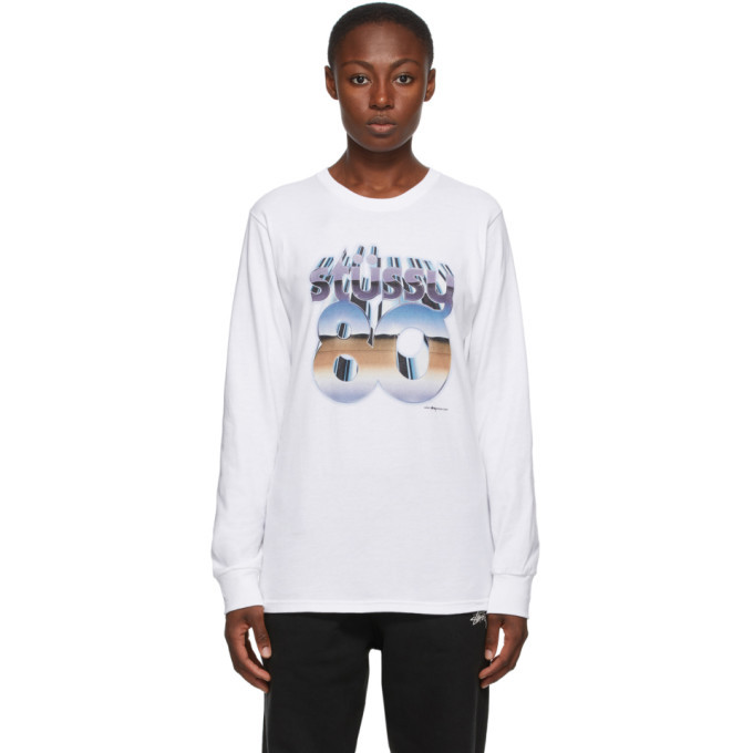 Photo: Stussy White 80 Chrome Long Sleeve T-Shirt