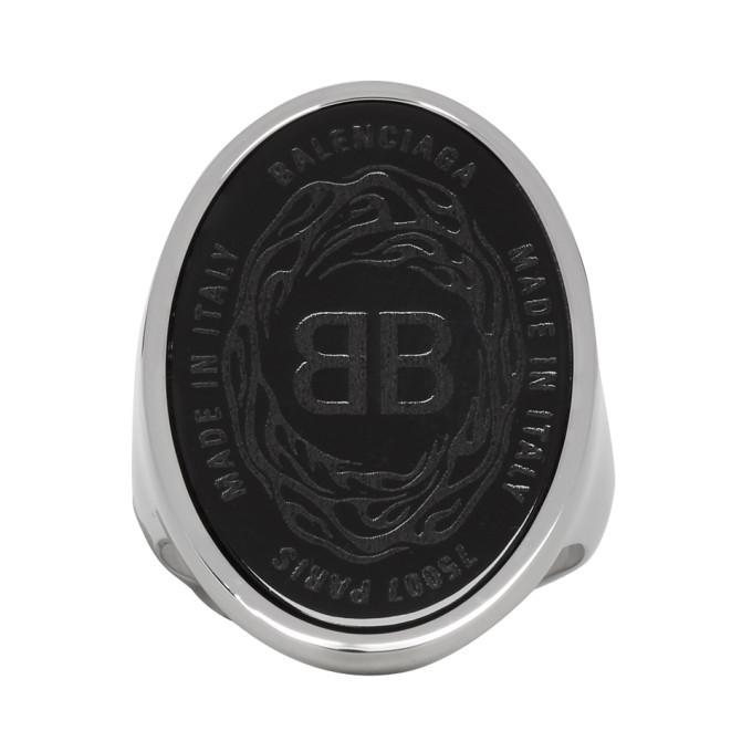 Photo: Balenciaga Black and Silver Oval Chevaliere Ring