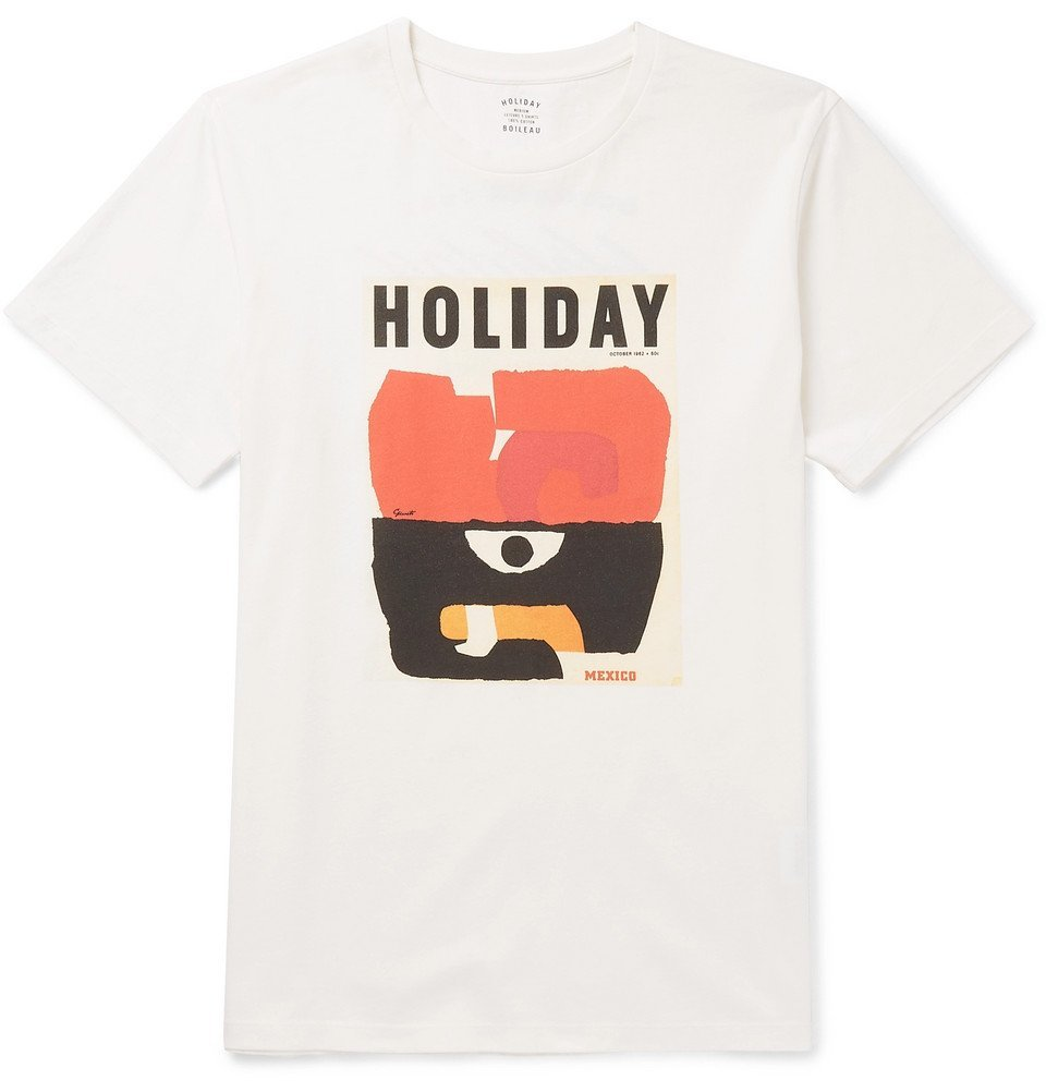Photo: Holiday Boileau - Printed Cotton-Jersey T-Shirt - White