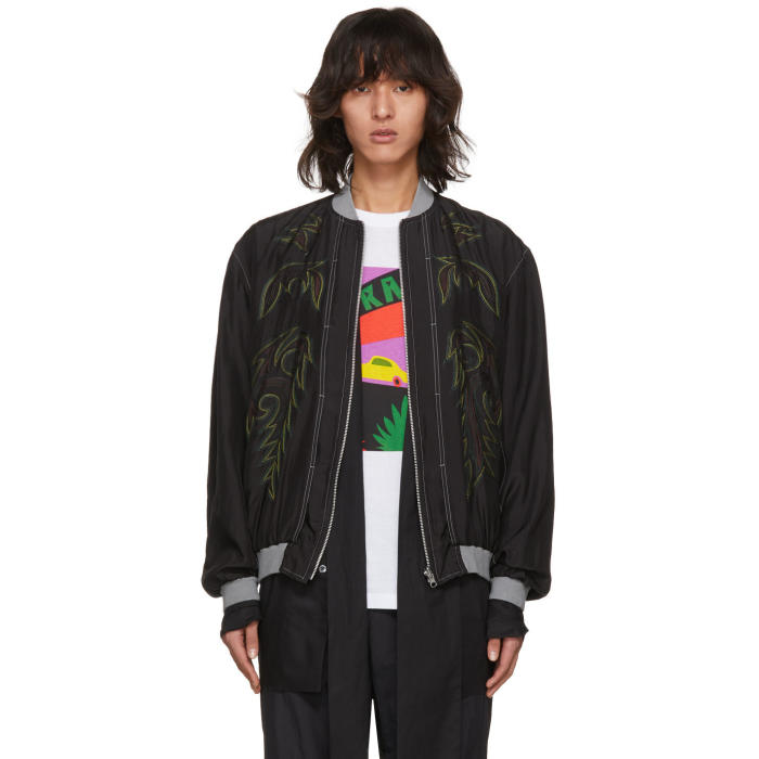 Toga Virilis Black Embroidered Silk Bomber Jacket