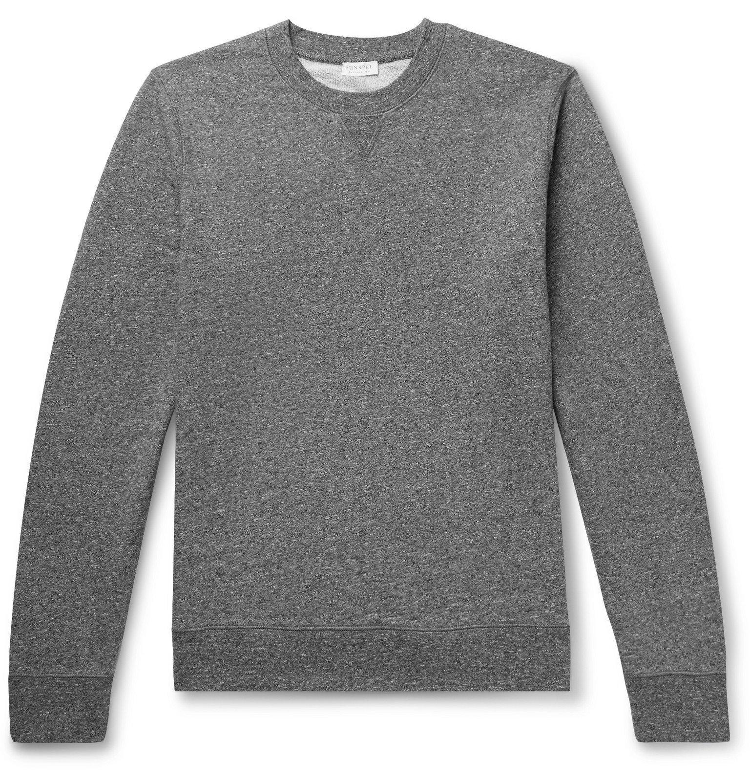 Sunspel - Mélange Loopback Cotton-Jersey Sweatshirt - Gray