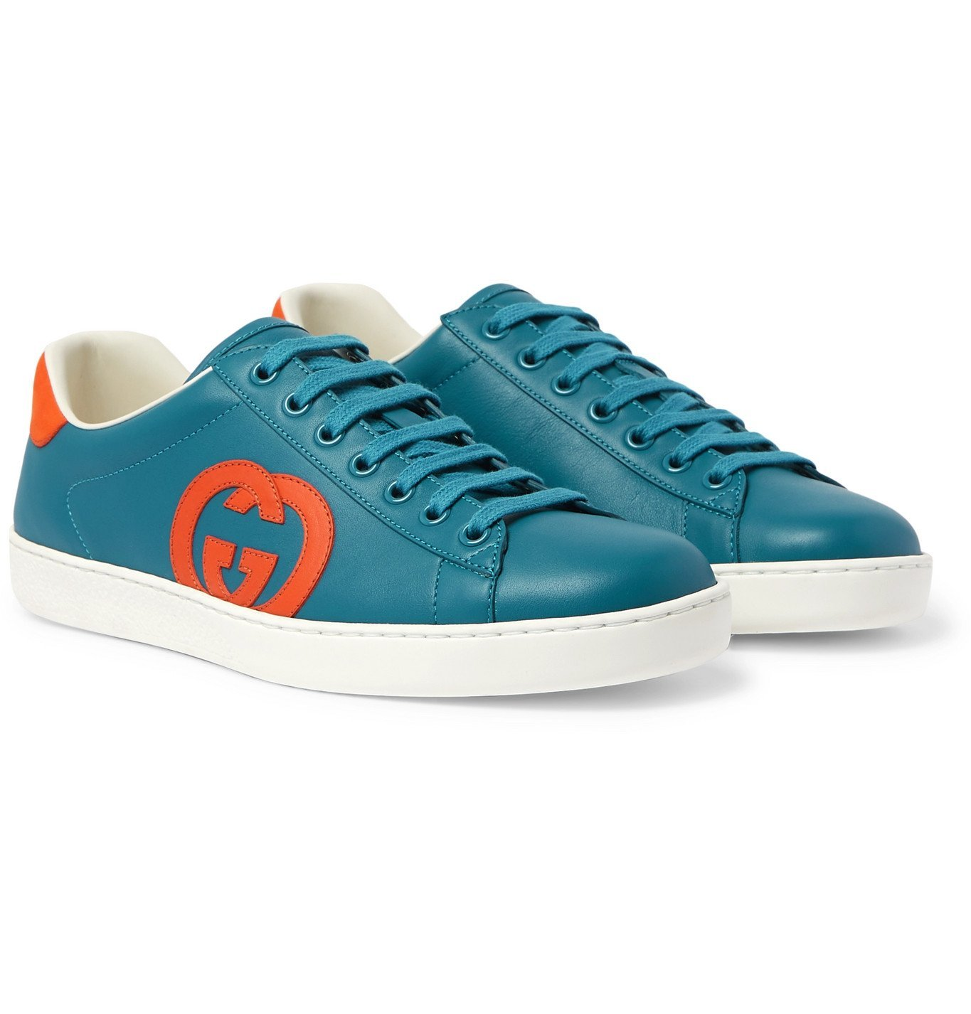 Photo: Gucci - Ace Suede-Trimmed Leather Sneakers - Blue